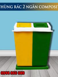 Thùng rác nhựa 2 ngăn bập bênh