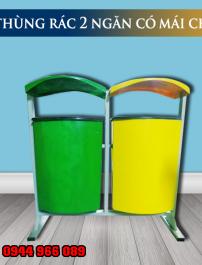 Thùng rác nhựa 2 ngăn có mái che