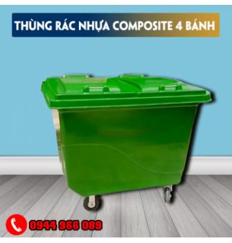 Thùng rác nhựa 4 bánh xe composite 800 lít