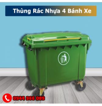 Thùng rác nhựa có 4 bánh xe