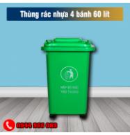 Thùng rác nhựa công cộng 4 bánh 60 lít