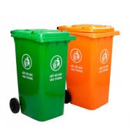 Thùng rác nhựa HDPE 120 L, có 2 bánh xe