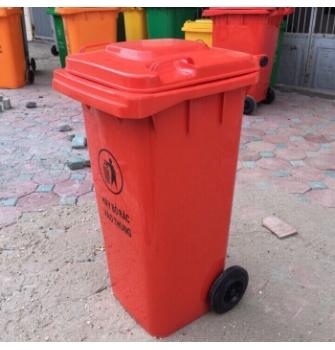 Thùng rác nhựa HDPE 120L màu cam đỏ