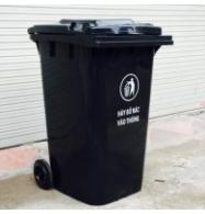 Thùng rác nhựa HDPE 240 lít, có 2 bánh xe