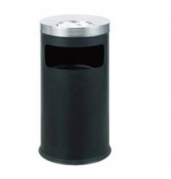 Thùng rác thép phun sơn, có gạt tàn inox bằng inox trắng