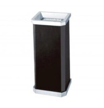 Thùng rác thép phun sơn màu đen,viền inox trắng, có gạt tàn