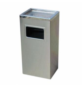 Thùng rác vuông Inox trắng, có gạt tàn